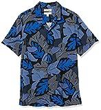 Goodthreads Camisa Hawaiana de Manga Corta con Cuello de Campamento, Azul, Hoja, S
