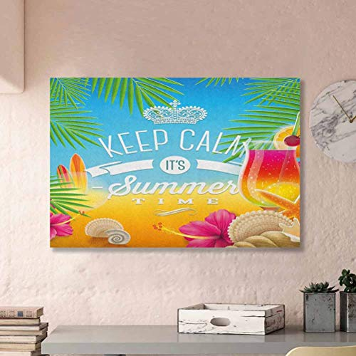 ParadiseDecor Beach Wall Art Decor Its Summer Time Colorful Tropic Arrangement Surfing Holiday Exotic Palm Tree Pattern Best Gifts of 2020 Multicolor L24 x H48 Inch