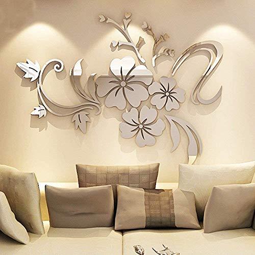 ENCOFT Pegatinas de pared 3D Arte DIY de la Decoración del Hogar de Etiqueta Engomada Flor de Hibisco de Pared Vinilos Espejos 120 * 90cm (L, Plata 1)