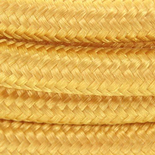 Cable textil con enchufe e interruptor (2 m), color dorado