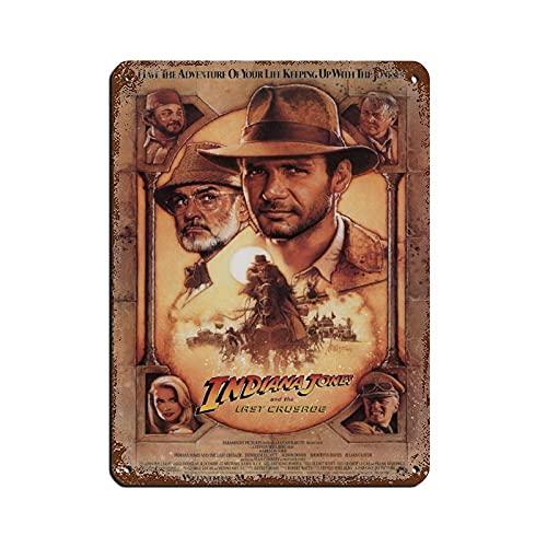 Cartel vintage de metal con texto en inglés 'Indiana Jones And The Last Crusade' de Harrison Ford. Cartel de decoración de pared de 30 x 40 cm