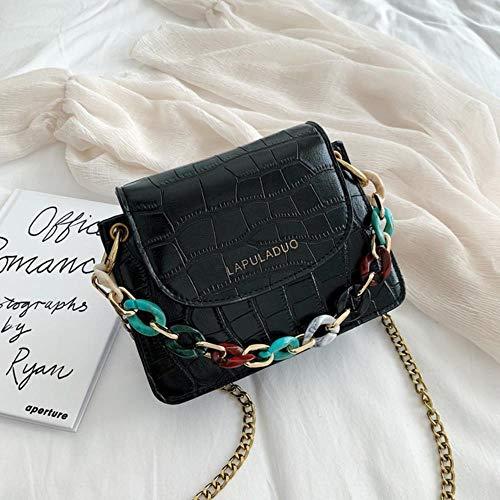 VIE Mode Leder Damen Handtasche Krokodil Muster Lederkette Schulter Umhängetasche, Schwarz, Klein 19X5X15CM