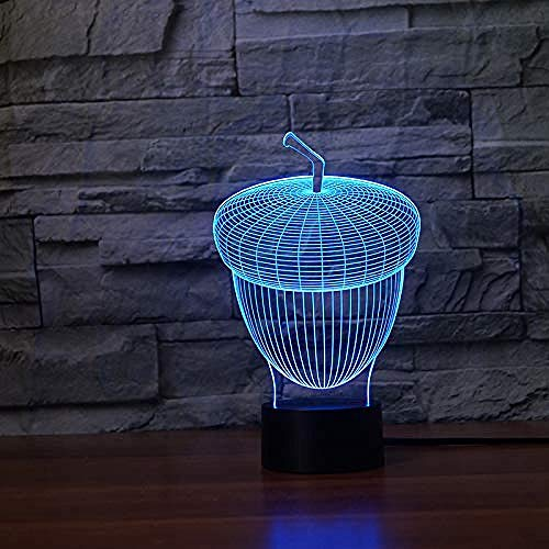 7 Color Atmosphere 3D Led Night Light Acorn Shape Touch Button Pulp Oak Table Lamp Bedroom Shape Decoration Novelty Kids Toy Gift-Bluetooth Control