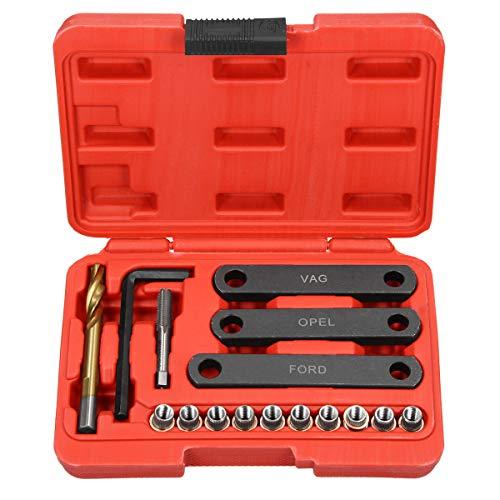 ECD Germany Kit Guide Outil de Réparation - Filetage Étrier de Frein - M9 x 1,25 - Boulon de Guidage 16-piéces - Outils de Réparation pour Voiture