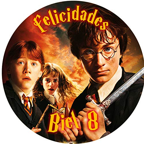 OBLEA de Harry Potter Personalizada con Nombre y Edad para Pastel o Tarta, Especial para cumpleaños, Medida Redonda de 20cm de diámetro