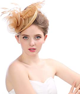 Unicra Fascinators Hat Pillbox Hair Clip Bowler Feather Flower Wedding Party and Tea Hairpin Hat for Women Light Brown