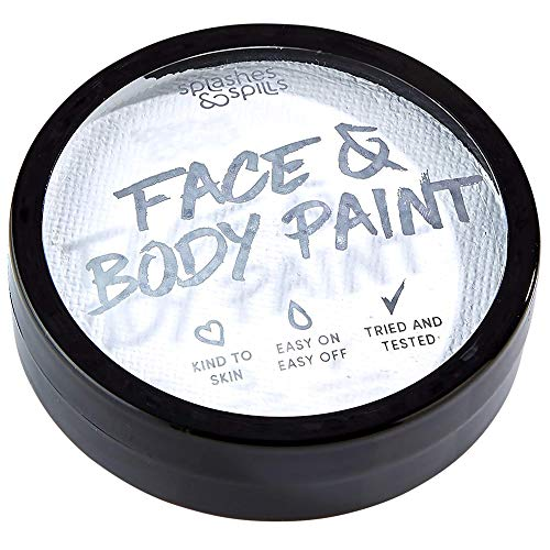 Water Activated Face and Body Paint - White, 18g Cake Tub - Pretend Costume and Dress Up Makeup by Splashes & Spills (Makeup That Goes With A White Dress)