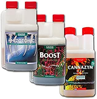 Canna Boost, Cannazym, Rhizotonic Plant Additives Hydroponic Nutrient Bundle (250mL)