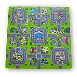 Alfombra puzzle de goma EVA para niños. Diseño de circuito de tráfico. 1 cm. de espesor. 9 piezas...