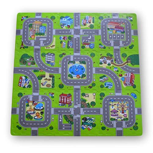 Alfombra puzzle de goma EVA para niños. Diseño de circuito de tráfi