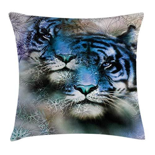 Animal Throw Pillow Cushion Cover, 2 Tiger Safari Cat Wild Furious Life Big Animals Artwork Print, Decorative Square Accent Pillow Case 18inch*18inch