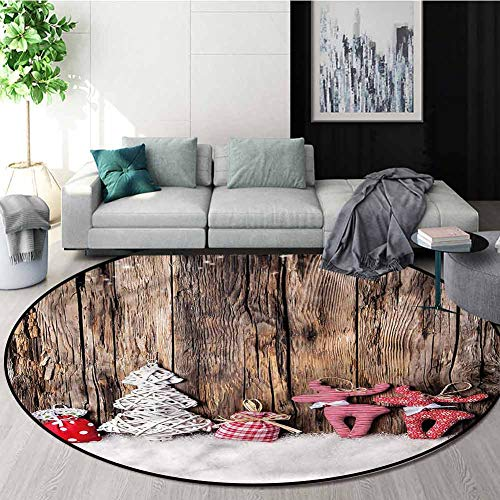 Best Bargain Winter Super Soft Circle Rugs for Girls,Cute Traditional Xmas Non-Slip Living Room Soft...