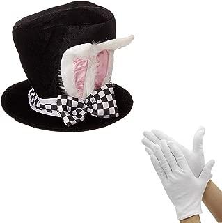 Black Velvet Bunny Hat White Rabbit Ear Costume Accessory with White Gloves