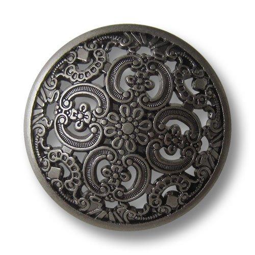 Knopfparadies - 6er Set traumhaft schöne leicht gewölbte altsilberfb. Metall Ösen Knöpfe mit Durchbruch Muster/altsilberfarben, geschwärzt/Metallknöpfe/Ø ca. 30mm
