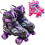 The Magic Toy Shop 4 Wheel Adjustable Quad Roller Skates Kids Boots Childrens Rollerskates (Purple, Small/UK 11-1/)