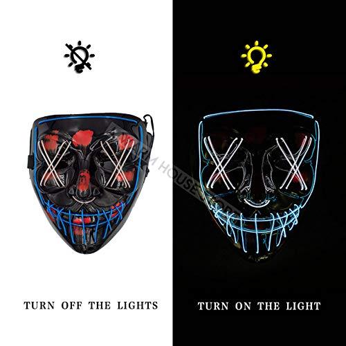 LYPYY LED-Maske Halloween-Party-Maske Maskerade-Masken Neon-Maske Helle im Dunkeln leuchtende...