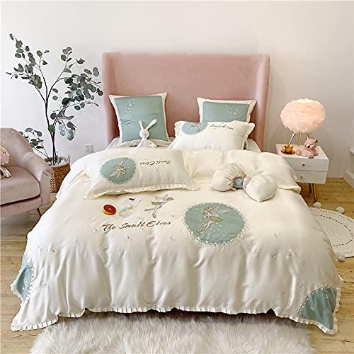 ALRZ 80 camas de doble cara bordadas de cuatro piezas sedosas para dormir