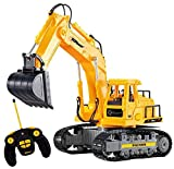 Top Race Excavador RC funcional completo de 7 canales, RC eléctrico con pilas, control remoto, construcción, tractor con luces y sonido. TR-111