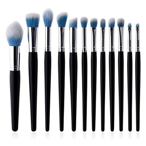 12pcs pinceau de maquillage ensemble poignée de bois portable pinceaux de maquillage pinceaux de maquillage professionnel pour poudre de fard à paupières pour le visage
