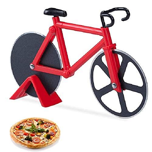 Fahrrad Pizzaschneider, Antihaftbeschichteter Edelstahl Doppel Pizza Schneider, Doppel Pizza Cutter mit Scharfem Schneiderad & Ständer für Weihnachten Party Geschenke