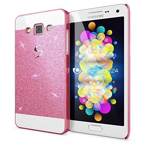 NALIA Custodia Protezione compatibile con Samsung Galaxy A5 2015, Glitter Hard-Case Sottile Cover Protettiva Cellulare, Ultra-Slim Copertura Rigida Telefono Bumper Scintillio - Pink