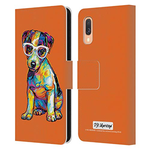 Head Case Designs Licenciado Oficialmente P.D. Moreno Jack Russell Perros Carcasa de Cuero Tipo Libro Compatible con Samsung Galaxy A40 (2019)