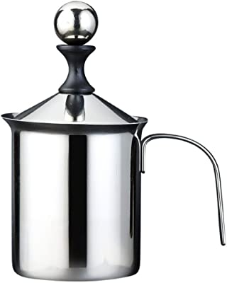 Manual Milk Frother | Stainless Steel Double Mesh Foamer | Cappuccino Latte Creamer | 400 ml Pitcher with Hand Pump | Fizzler Jug for Hot Chocolate