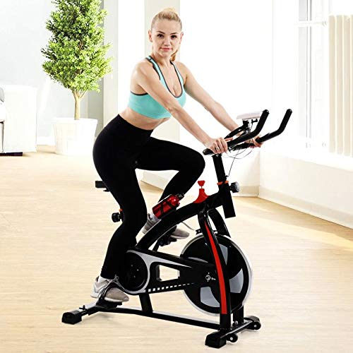 Home Fitness Bicycle,Exercise Bike Indoor Cycling Bike Peloton Bicycle Workout Fitness Equipment Stationary Trainer Bikes Upright Bike Exercise Monitor with Hear Rate Sensor (Black) belt Bikes Exercise flywheel indoor upright