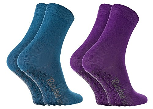 Rainbow Socks - Damen Herren Bunte Baumwolle Antirutsch Socken ABS - 2 Paar - Jeans Lila - Größen 36-38
