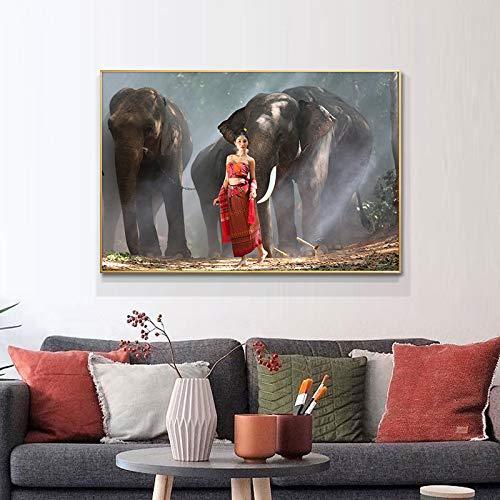 wZUN Póster de Pintura al óleo de Elefante y Mujer Hermosa en Lienzo e Impresiones de imágenes artísticas en la Pared 60x90 Sin Marco