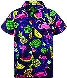 Funky Camisa Hawaiana, Manga Corta, Flamingo Melon, Azul, XS