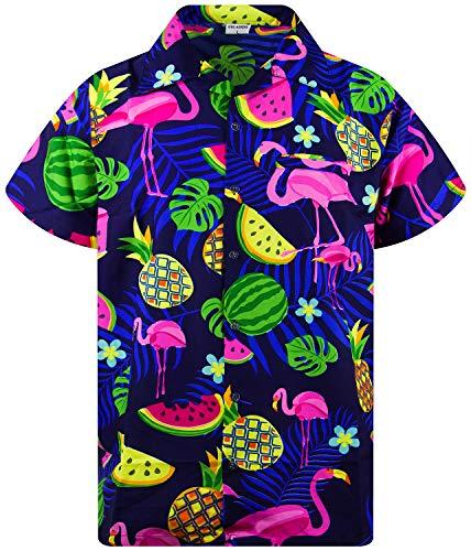 King Kameha Funky Hawaiihemd, Kurzarm, Flamingos Melonen, Blau, XS