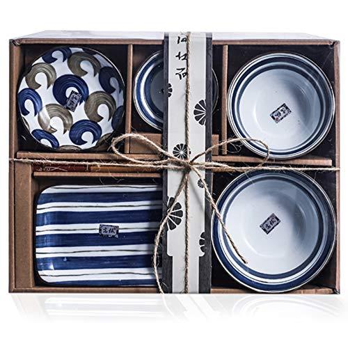 6Pcs Juego de vajilla de porcelana japonesa, con platos, palillos, Cuenco, plato de sushi, regalos japoneses Juego servicios cena cerámica, para Postre/Sopa/Fideos/Cereal, Lavavajillas y Microondas
