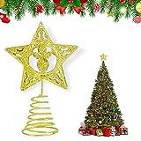KATELUO Puntale per Albero di Natale, Punta Albero di Natale Argento,Natale a Forma di Ste...