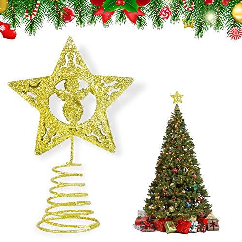 KATELUO Christbaumspitze,weihnachtsstern Topper,Weihnachtsbaumspitze Baumdeckel,Beleuchtete Funkelnde Stern Weihnachtsbaumspitze Geeignet für Weihnachtsbaumdekoration und Heimdekoration.