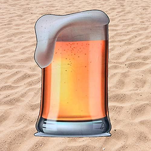 BE CRAZY THE BRAND Toalla de Playa Microfibra Forma de Cerveza - Fabricado en Poliéster y Nylon, 148x77 cm.