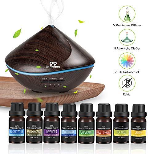 Aroma Diffuser mit 8 Stück Ätherische Öle Set, Duftöldiffusoren Luftbefeuchter Ultraschall 500ML Sanddüne| Raumbefeuchter Diffusor Aromatherapie Holzmaserung 7 LED