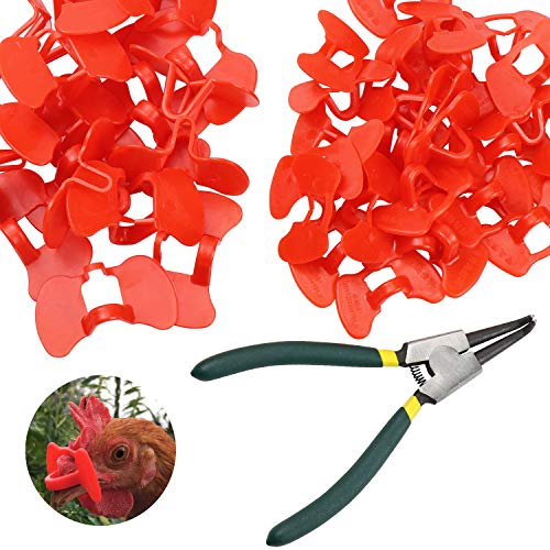 Homgaty 51 PCS Pinless Peepers with Pliers Set for Chickens Poultry Blinders Anti-Pecking Pheasant Eye Glasses Eye Protector