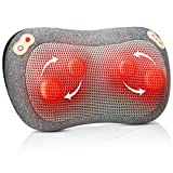 Neck Massager with Heat, Shiatsu Shoulder Massager Pillow with Straps and Timer for Back Arm Leg Pain Soreness Relief for Home, Office, Car, Bed Use