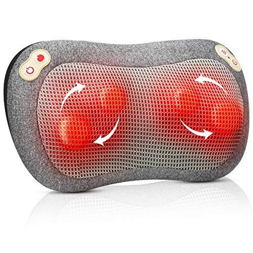 Massagekissen mit Timer, ATMOKO Shiatsu Massagegerät mit Wärmefunktion, Elektrische Nackenmassagegerät 3D-rotierenden Massage für Nacken Schulter Rücken Muskel Entspannung, Haus Büro Auto