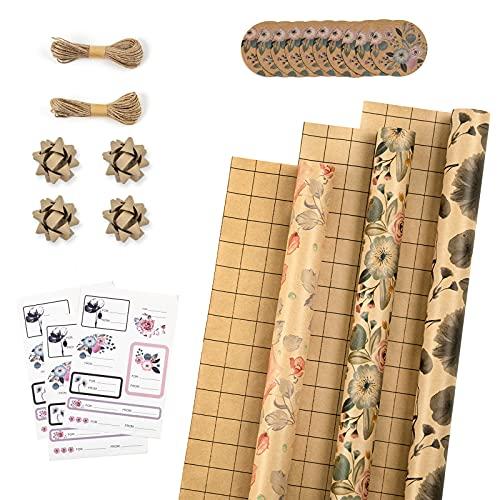 RUSPEPA Rotoli Di Carta Da Regalo Con Etichette, Adesivi E Corde Di Iuta - 43cm X 3m Per Rotolo, Totale Di 3 Rotoli, Fiori