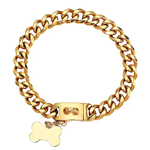 Gold Chain Dog Collar with Secure Snap Buckle -18K Gold Plated 20X Thicker, 19MM Cuban Link Dog Collar - Chew Proof Heavy Duty Fancy Gold Dog Chain for Medium Large Dogs (16''(for 14''~16''Neck))