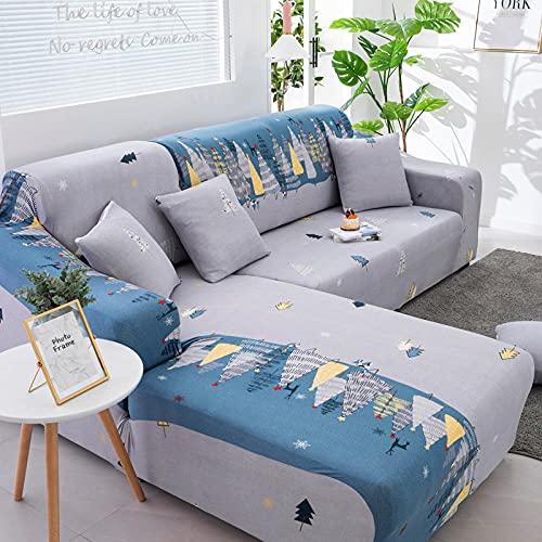 Funda Sofas 2 y 3 Plazas Pino De Navidad Fundas para Sofa con Diseño Elegante Universal,Cubre Sofa Ajustables,Fundas Sofa Elasticas,Funda de Sofa Chaise Longue