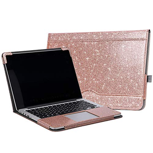 TYTX MacBook Air Leather Case 13 Inch 2020 2019 2018 (A2337 A2179 A1932) Laptop Sleeve Protective Folio Book Cover (New MacBook Air 13', Shining Rose Gold)