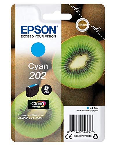Epson 202 Serie Kiwi, Cartuccia Originale Getto d'Inchiostro Claria Premium, Formato Standard, Ciano, con Amazon Dash Replenishment Ready