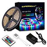 SUEPRNGIHT 3528 SMD RGB 5M LED strip lights + Remote controller + 12V power supply,non-waterproof , high intensity and reliability, Long lifespan Every 3-LEDS cuttable without damaging the rest strips, according to your requirement Width: 0.8cm, Only...