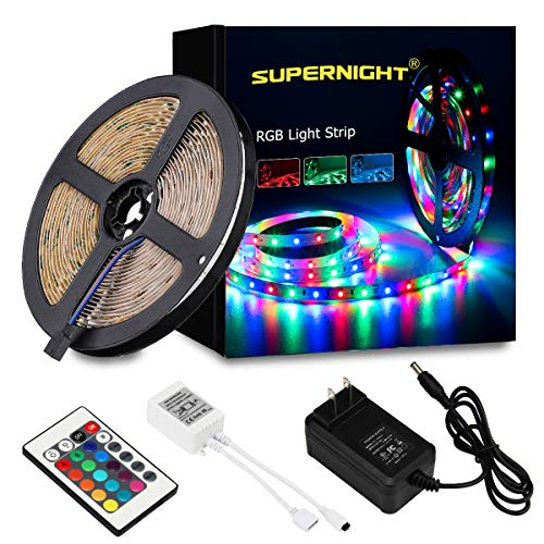 SUPERNIGHT LED Strip Light, 2835 SMD RGB Multi-Color Changing Lights, 16.4ft 300 LEDs Rope with IR Remote Controller, 12V Power Supply for Bedroom, TV-Back Lighting, Halloween, Christmas