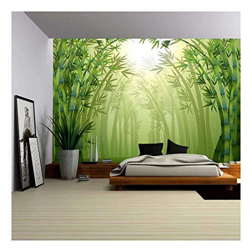 wall26 - Illustration of The Bamboo Trees Inside The Forest - Removable Wall Mural | Self-Adhesive Large Wallpaper - 100x144 inches