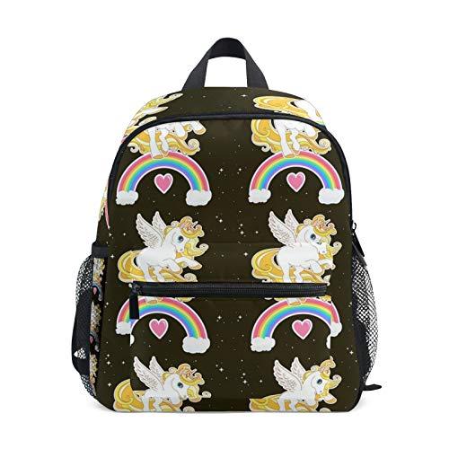 Mochila para niños y niñas Mini Mochila Bolsa de Viaje con Clip para el Pecho Lindo Unicornio Vector y Arco Iris