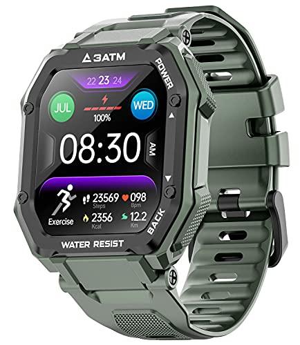 Reloj inteligente para hombres y mujeres, activación de actividad física con monitoreo de oxígeno en sangre de frecuencia cardíaca, 3 ATM, resistente al agua, 1,7 pulgadas,...